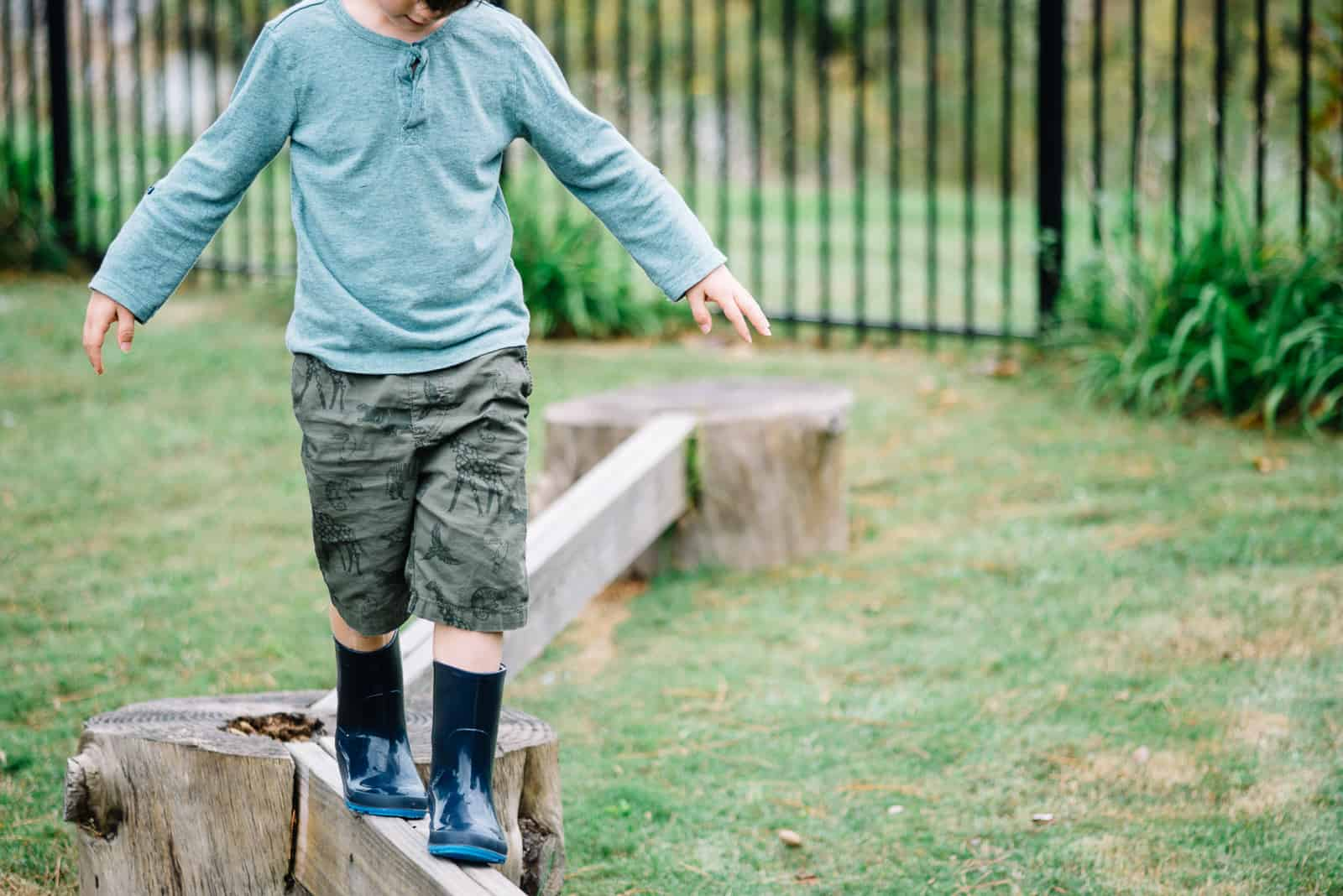 Montessori balance beams playground rain boots