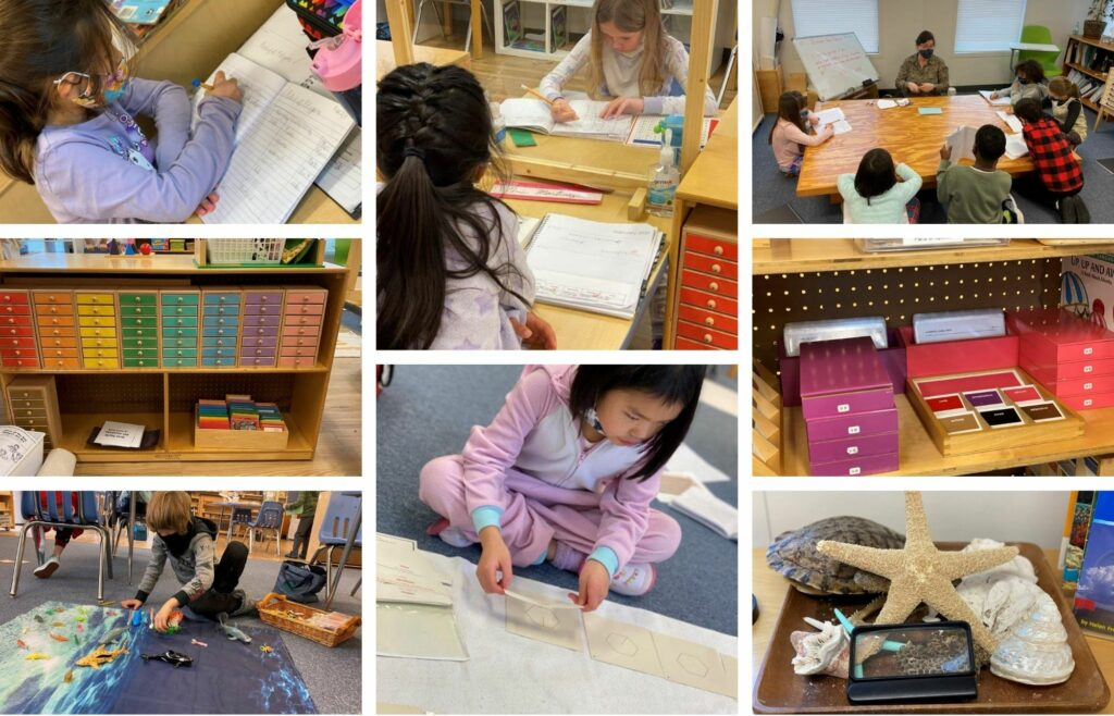 lower elementary montessori students completing work with montessori materials in a peaceful classroom